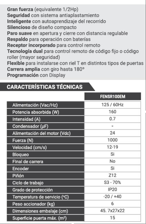 Ficha técnica de Abre Puertas Automáticas NAOS ERREKA by SAGSA Doors and Gates