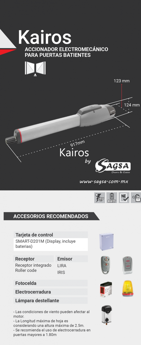 Accesorios para el abre puertas KAIROS Erreka by Sagsa Doors and Gates